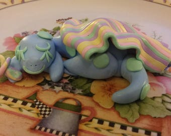 Handmade Baby Dragon Sculpture Cake Topper OOAK Polymer Clay Gift Cute Adorable Fun Baby Shower