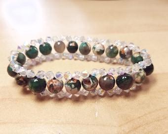 green marble stretch beaded bracelet