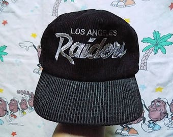 Vintage 90's Los Angeles Raiders Corduroy Zip Back Hat, Adult Size NFL Sports Specialties The Cord