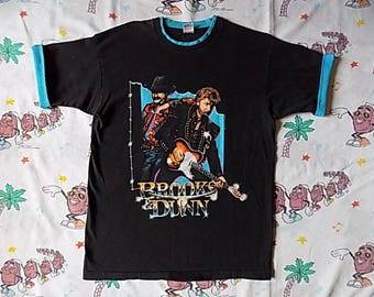 Vintage 90's Brooks & Dunn Trail Drive Tour roll up sleeve T shirt, size Large 1992 country duo Concert Tee