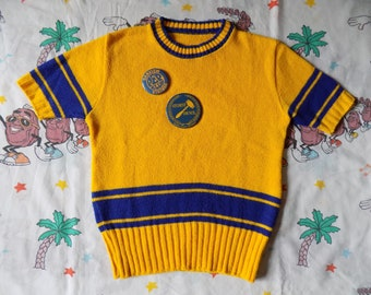 Vintage 70's Cheerleader Short Sleeved Sweater with Buttons, size Small