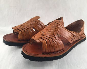 MENS LEATHER HUARACHES Sandals vintage style made in mexico with tire sole