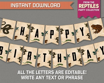 Reptile Party Banner with Spacers - INSTANT DOWNLOAD - Editable PDF file - Print at home - Reptile Birthday Banner - Happy Birthday Banner