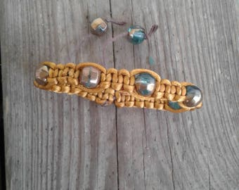 Dark Gold Beaded Macrame Bracelet