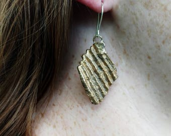 Consumption Potato Chip Earrings- Bronze