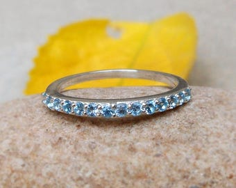 blue topaz half eternity ring eternity bands engagement rings sterling silver eternity band wedding gifts swiss - Topaz Wedding Ring