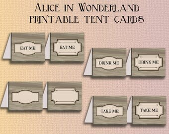 Alice in wonderland printable tent cards - Instant download DIY tent card template - eat me take me drink me tentcard