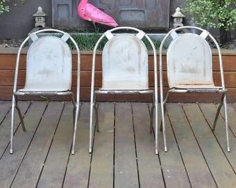 Retro Vintage 3 x Sebel Stak-A-Bye chairs metal industrial