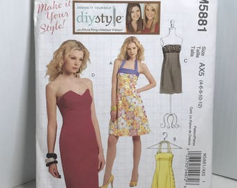 D183 McCall's 5881, sewing pattern, women's, fitted dress, strapless, halter, knee lenght, size 4-12  uncut