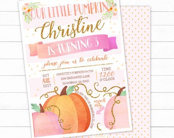 Pumpkin Birthday Invitation, Our Little Pumpkin Invite, Pumpkin Birthday Invitation, Pink and Gold Invitation, Fall Birthday Invitation,