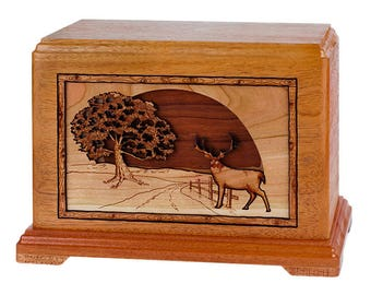 Mahogany Whitetail Deer in Heartlands Hampton Wood Cremation Urn
