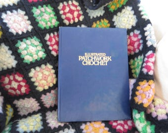Vintage Illustrated Patchwork Crochet book c. 1976 by Bella Scharf Granny Squares Kitshy 1970's