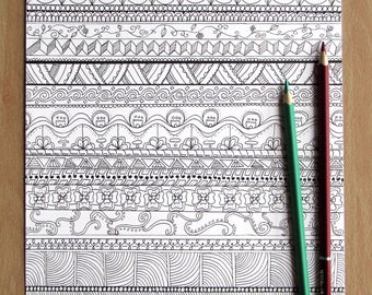 Pattern Stripes - A4 Printable Colouring Page, PDF Download, Adult Colouring, Zentangle-inspired