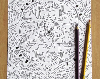 Flower Mandala - A4 Downloadable Colouring Page, Printable, PDF Download, Adult Colouring, Relaxation, Mindfulness