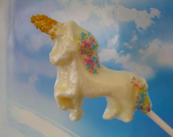 Unicorn Candy Lollipops (12)-Personalized/Pearlized Vanilla Flavor-First Birthday/Favors/Cupcake Toppers/Showers/Weddings