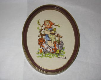 Vintage hummel crewel picture girl with chickens plastic frame