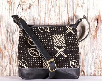 Black Leather Boho Bag - Black Leather Shoulder Bag- Black Boho Bag - Ethnic Leather Bags - African Mud Cloth Bag