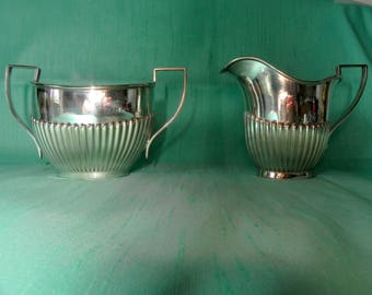 vintage silver plate creamer and sugar bowl, made in England