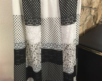 Tumblewinds Black and White patchwork Maxi skirt