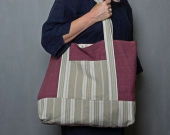 Extra large sturdy tote bag made with hand dyed antique fabric, book bag, gym bag, shopper, nappy, day, office bag (123)