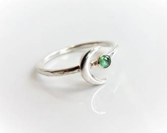 3 mm Emerald Crescent Moon Stackable Ring, Emerald Ring, Crescent moon ring, Sterling Silver, Solid Gold Ring
