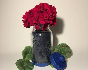 Mermaid. Mason Jars. Decorative Etched Glass Glitter Jar Flower Vase. Tea Light Candle Holder. Kitchen Utensil Storage Container