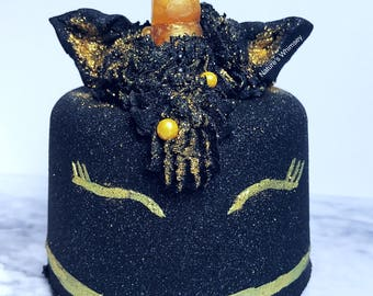 Unicorn Bath Bomb | Black Bath Bomb | Magical unicorn | Gothicon | Unicorn Cake shaped | pastel goth | Halloween bath bomb | bubble bar fros