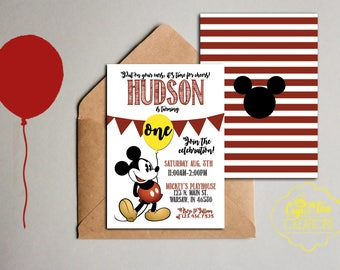 Mickey Mouse Invitation, Mickey Mouse Birthday Invitation, Mickey Invitation, Mickey Birthday Party