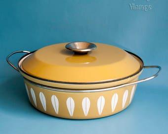 Vintage CATHRINEHOLM of Norway Olive Green Lotus Dutch Oven Pan Saucepan