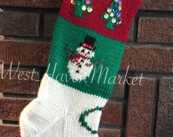 Kit for Vintage Personalized Hand Knit Christmas Tree and Snowman Stocking with 100% PURE WOOL