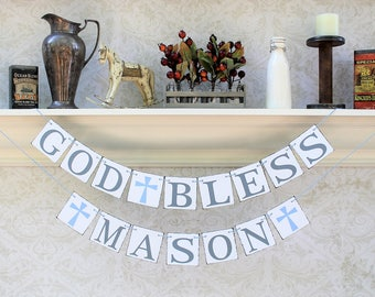 BAPTISM BANNERS-First Holy Communion Signs-Baby Dedication Signs-Confirmation Banners-Rustic Baptism Decor