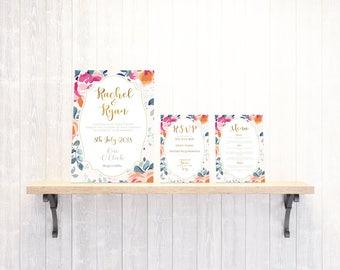 Printable Wedding Invitation - Floral Invitation - Vintage Invitation
