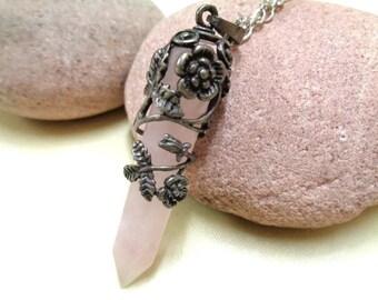 Rose Quartz Necklace in Dark Silver Setting,Pendulum Necklace,Crystal Quartz,Gemstone Necklace,Rose Quartz Choker,Flower Necklace,Love Stone