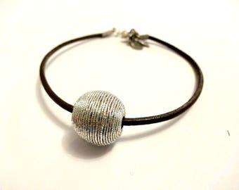 Brown Leather Bracelet, Minimalist Jewelry,  Simple Bracelet, Silver Indonesian Beaded Bracelet, Cool Jewelry, Cool Bracelet, Gift For Her