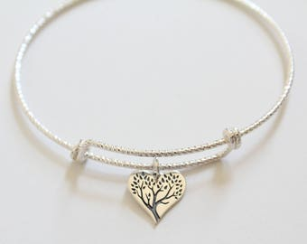 Sterling Silver Bracelet with Sterling Silver Family Tree Heart Charm, Family Tree Bracelet, Family Tree Heart Charm Bracelet, Tree of Life