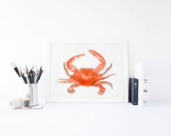 Crab Print - Beach House Decor - Bathroom Decor - Beach Decor - Nautical Decor - Coastal Decor - Beach Wall Art - Housewarming Gift