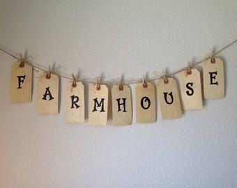 Farmhouse Banner. Shipping Tag Banner w/clothes pins and jute twine. Handmade Farmhouse Decor. Farmhouse Kitchen Decor. Tea-stained Banner.