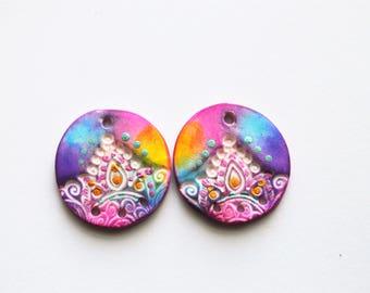 Lotus Rounds Polymer Clay Beads,Mandala Beads,Artisan Beads,Handmade,Rainbow Color Beads,Art Beads,Lotus Beads,Big Rounds ,26 mm rounds