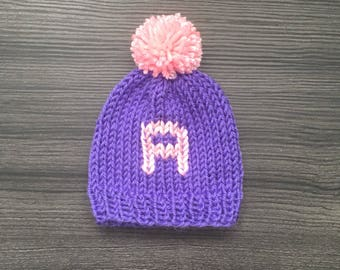 Personalized Knit Baby Hat - Baby Name Hat, Baby Beanies, Baby Hats, Custom Baby Hats, Pompom Baby Hat, Baby Shower Gifts, Handmade Hats