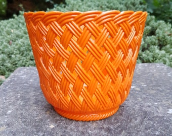 Retro kitsch orange plastic planter 1950s
