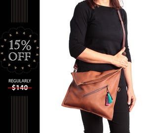 Leather crossbody bag for women, brown cross body purse, fold over bag purse, Brown leather crossbody purse, medium shoulder bag, ON SALE