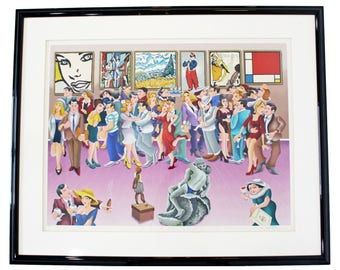 Contemporary Framed Litho Signed Yuvhal Mahler Party at Art Exhibit 1980s 63/250