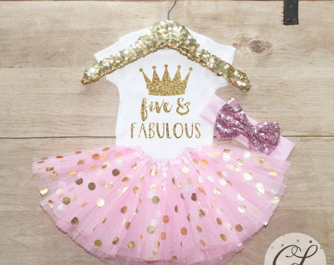 Featured listing image: Five & Fabulous Birthday Tutu Outfit Set / Crown T-Shirt 206