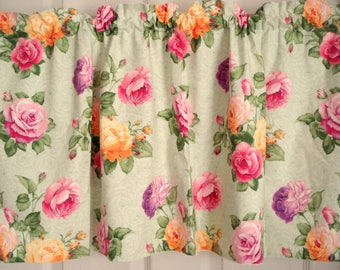 "Vintage Curtains Valances Pink Rose Cabbage Rose Valances Shabby Cottage Chic Valances Lined Set of 2 43"" Wide 14"" Long 43"" x 14"""