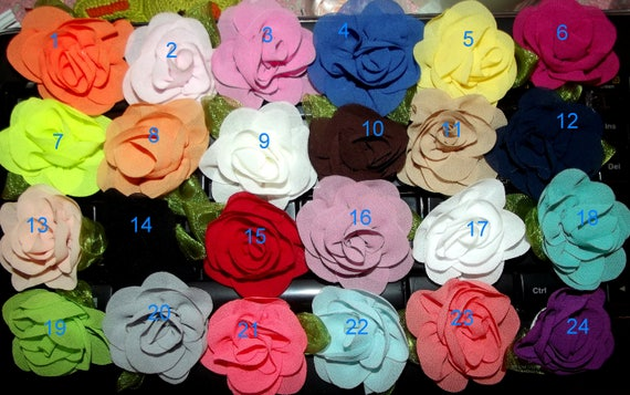 Puppy Dog Bows ~ Sweet fluffy colored rose flowers boy or girl pet hair bow barrettes or bands  (fb41)