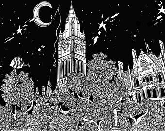 Limited Edition Manchester, UK Drawing Print- Signed by Kelsey Montague