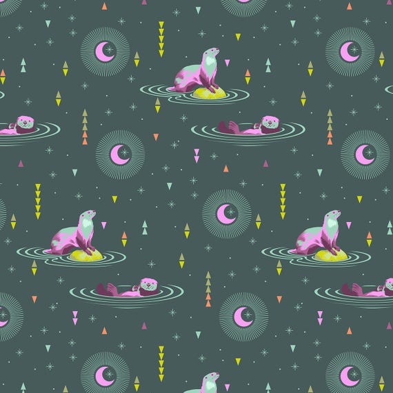 OTTER AND CHILL Lunar Glow Spirit Animal PWTP102.Lunar Tula Pink Sold in 1/2 yd increments