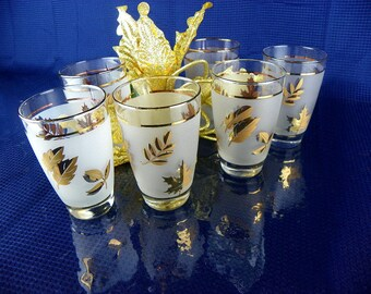Gold Leaf Drinking Glasses Mid Century Libbey Frosted Glassware Set of 6 or 8