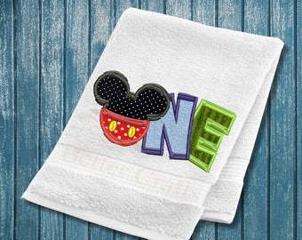 1st birthday, One Mickey mouse machine  embroidery design