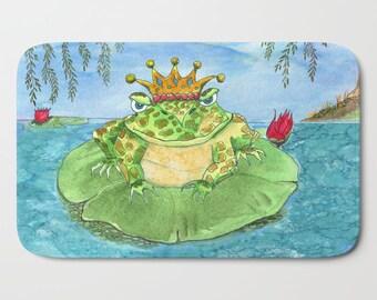 Frog King Bath Mat -  Kid's bathroom, frog decor,  cute bathroom,  floor mat rubber backed, Plush mat -  matches